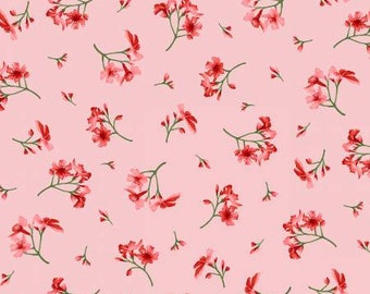 Prose Little Pink Flowers Fabric Yardage, Maywood Studio, Cotton Quilting Fabric, Floral Fabric