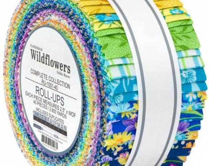 Wildflowers 2-1/2 Inch Strips Jelly Roll, 40 Pieces, Debbie Beaves, Robert Kaufman, Cotton Quilt Fabric, Floral Fabric