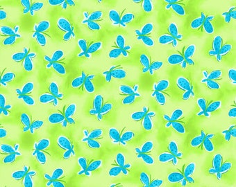 Whimsy Daisical Green Butterflies Fabric Yardage, Keri Schneider, Blank Quilting, Cotton Quilt Fabric, Floral Fabric