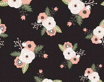Remnant 1/2-Yard Modern Farmhouse Main Black with Sparkle Cotton Quilting Fabric, Simple Simon & Co., Riley Blake Designs, Floral Fabric