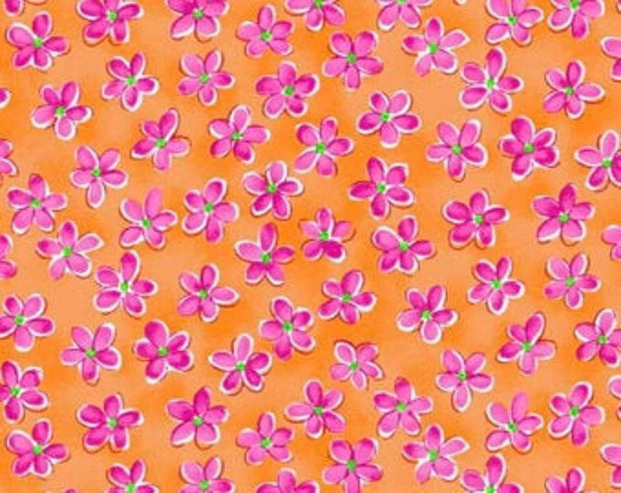 Whimsy Daisical Small Orange Daisies Fabric Yardage, Keri Schneider, Blank Quilting, Cotton Quilt Fabric, Floral Fabric