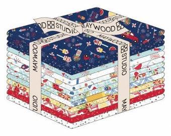 Red, White & Bloom Fat Quarter Bundle, 16 Pieces, Kimberbell Designs, Maywood Studio, Cotton Quilt Fabric, Patriotic Fabric