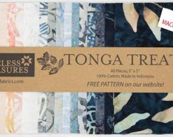 Horizon 5-Inch Squares Charm Pack Precut Fabric, Quilt Fabric, Batik Fabric, 40 Pieces, Tonga Batik, Timeless Treasures.