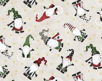 Gnomantics Gnome Toss Light Gray Fabric Yardage, Jennifer Pugh, Wilmington Prints, Cotton Quilt Fabric, Christmas Gnome Fabric