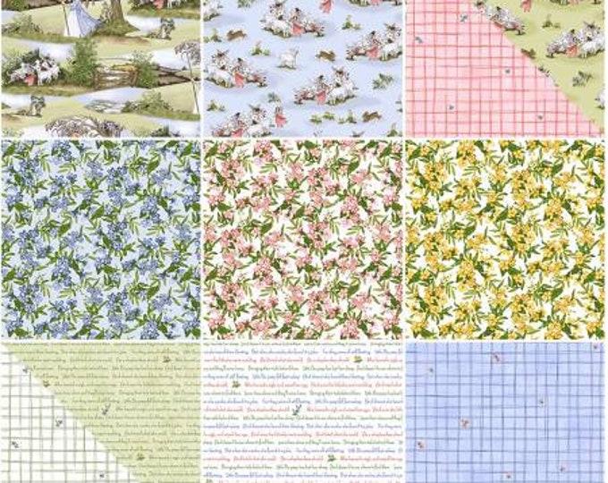 Little Bo Peep Fat Quarter Bundle Precut Cotton Quilting Fabric, Floral Fabric, 11 Pieces, Whistler Studios, Windham Fabrics,
