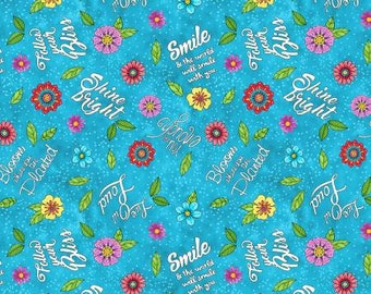 Remnant 1-Yard Live Out Loud Light Blue Words Allover Cotton Quilting Fabric, Floral Fabric, Hello Angel, Wilmington Prints.