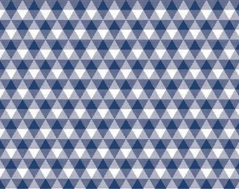 Land of Liberty Navy Gingham Fabric Yardage, My Mind's Eye Collection, Riley Blake Designs, Cotton Quilt Fabric, Floral Fabric