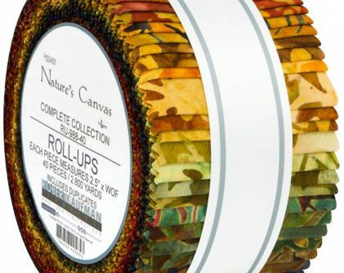 Nature's Canvas Batik 2-1/2 Inch Strips Jelly Roll, 40 Pieces, Lunn Studios, Robert Kaufman, Cotton Quilt Fabric, Batik Fabric
