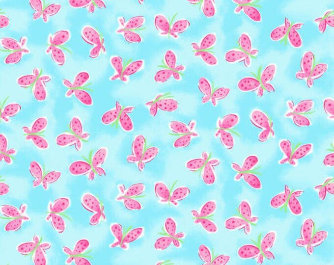 Whimsy Daisical Blue Butterflies Fabric Yardage, Keri Schneider, Blank Quilting, Cotton Quilt Fabric, Floral Fabric