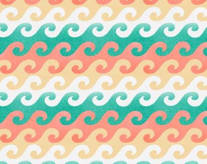 Beach Travel Multi Waves Fabric Yardage, 3 Wishes, Beth Albert, Cotton Quilting Fabric, Beach Fabric