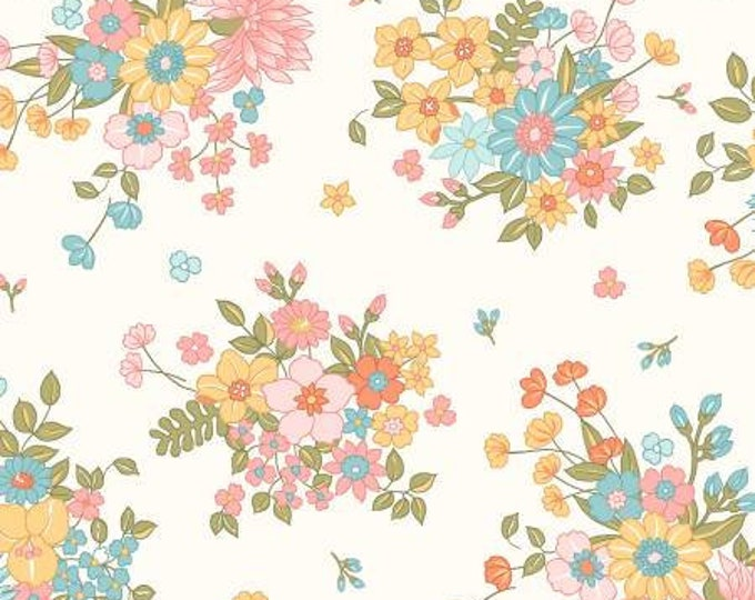 Remnant 1-3/4 Yards Sunlit Blooms Soft White Scattered Bouquet Floral Cotton Quilting Fabric, Mask Fabric, Floral Fabric, Maywood Studio.