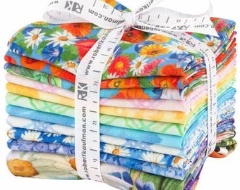 Vibrant Garden Fat Quarter Bundle Cotton Quilting Fabric, Floral Fabric, 11 Pieces, Lynnea Washburn, Robert Kaufman, Precut Fabric,