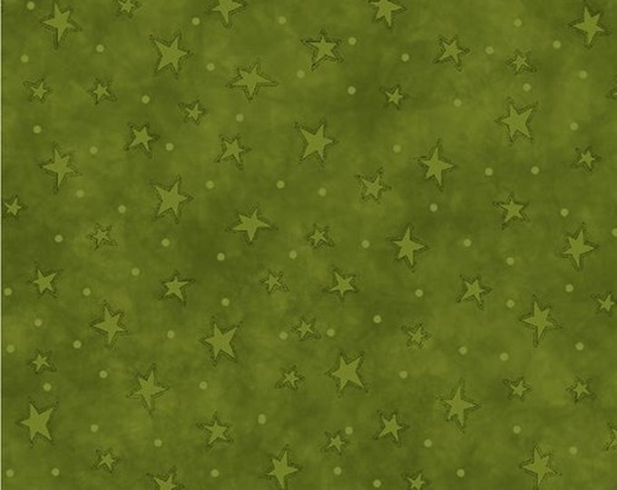Remnant 1-Yard The Whole Country Caboodle Green Starry Basics Cotton Quilting Fabric, Leanne Anderson,  Henry Glass.