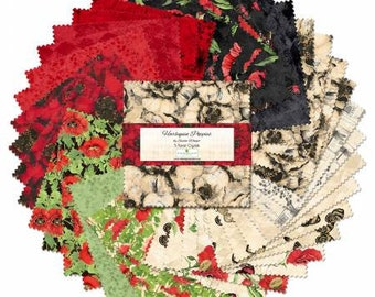 Harlequin Poppies 10 Inch Squares Layer Cake, 42pcs, Susan Winget, Wilmington Prints, Cotton Quilting Fabric, Floral Fabric.