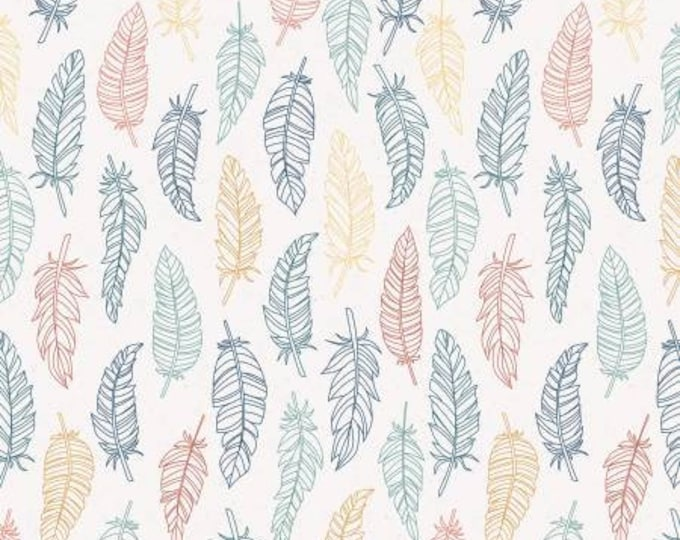 Remnant 1-Yard Dream Weaver Feathers Cream Cotton Quilting Fabric, Floral Fabric, Dream Weaver Collection, Amanda Castor, Riley Blake.