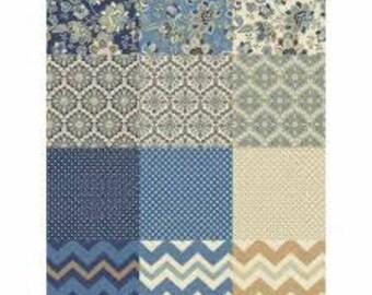 Isadora Fat Quarter Bundle Precut Cotton Quilting Fabric, Floral Fabric, Chevron Fabric, 16 Pieces, Windham Fabrics.