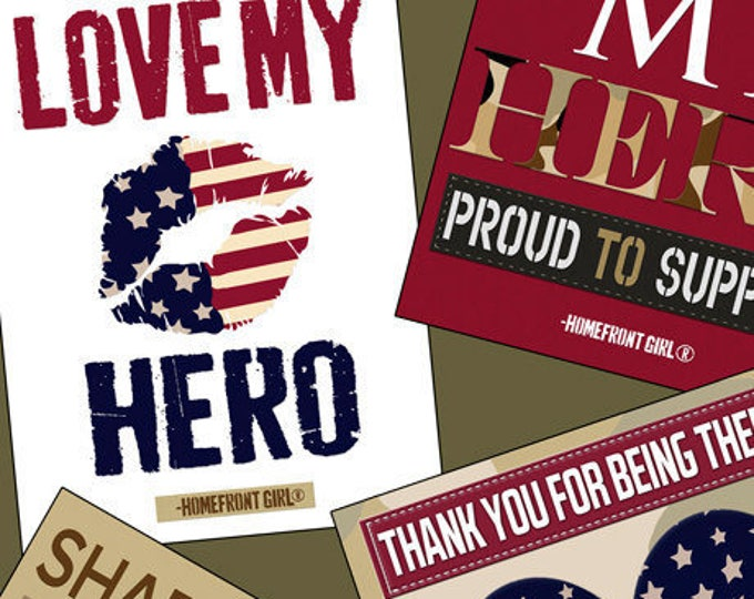 Love My Hero 1/2-Yard Fabric Bundle, 9 Pieces, Homefront Girl, Quilting Treasures, Cotton Quilting Fabric, Quilts of Valor Suitable
