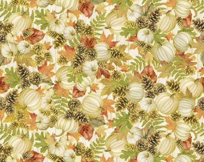 Autumn Symphony Cream White Pumpkin Pinecone Bouquets Fabric Yardage, Timeless Treasures, Cotton Quilt Fabric, Autumn Fabric