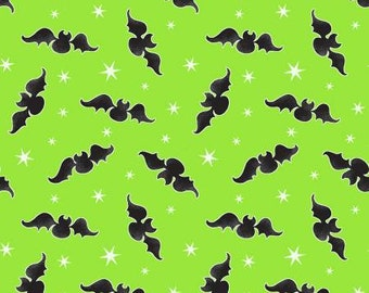 Here We Glow Green Tossed Bats Glow in the Dark Fabric Yardage, Delphine Cubitt, Henry Glass, Cotton Quilt Fabric, Halloween Fabric