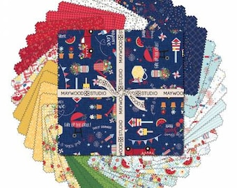 Red, White & Bloom 5-Inch Squares Charm Pack, Kimberbell Designs, Maywood Studio, Cotton Quilt Fabric, Patriotic Fabric