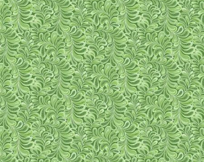 Cat-i-tude Singing the Blues Green Feather Frolic Pearlized Fabric Yardage, Cotton Quilt Fabric, Ann Lauer, Benartex , Feather Fabric