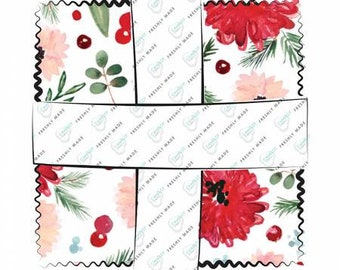 Winter Woods 5-Inch Squares Charm Pack Precut Cotton Quilting Fabric, Floral Fabric, 42 Pieces, Sarah B. Collection, Camelot Fabrics.