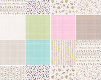 Flowers and Feathers Fat Quarter Bundle, 12 Pieces, Sillier than Sally, P&B Textiles, Precut Cotton Quilting Fabric, Includes Panel