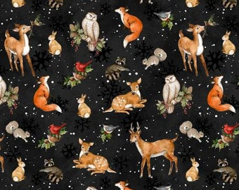 Winter Forest Black Forest Animal Toss Fabric Yardage, Susan Winget, Wilmington Prints, Cotton Quilt Fabric, Christmas Fabric
