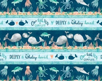 Remnant 3/4 Yards Whaley Loved Multi Repeating Stripe Cotton Quilting Fabric, Eliza Todd, Wilmington Prints, Fabric Yardage, Whale Fabric