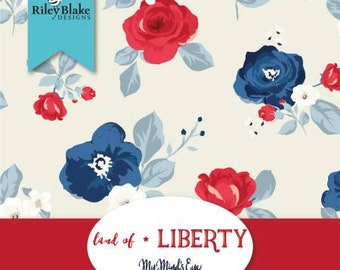 Land of Liberty 10-Inch Squares Layer Cake, 42 Pieces, My Mind's Eye, Riley Blake Designs, Precut Cotton Quilt Fabric, Floral Fabric