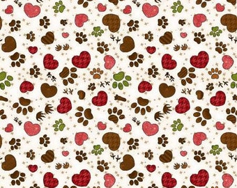 Next Stop is Home Pawprint Cream Fabric Yardage, Leanne Anderson, Henry Glass, Cotton Quilt Fabric