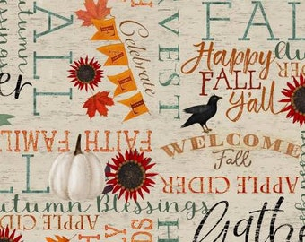 Happy Fall Beige Words Fabric Yardage, Beth Albert, 3 Wishes Fabric, Cotton Quilting Fabric, Autumn Fabric