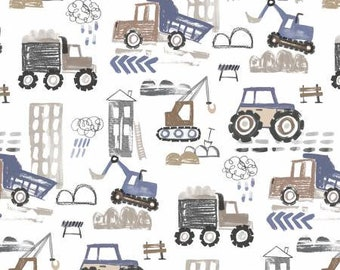 Diggers & Dumpers Tan Construction Site Fabric Yardage, Michael Miller, MMF Collection, Cotton Quilting Fabric
