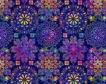Gossamer Gardens Royal Medallion Fabric Yardage, Color Principle Studio, Henry Glass, Cotton Quilt Fabric, Abstract Fabric