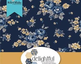 Delightful 2-1/2 Inch Strips Jelly Roll, 40 Pieces, Gerri Robinson, Riley Blake Designs, Precut Cotton Quilting Fabric, Floral Fabric
