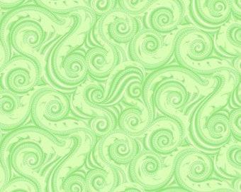 Crescendo Lime Waves Cotton Quilting Fabric, Floral Fabric, Amanda Murphy, Contempo Studio.