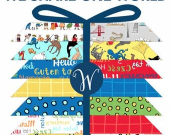 We Share One World Fat Quarter Bundle, 16 Pieces, Windham Fabrics, Precut Fabric, Quilt Fabric, Cotton Fabric