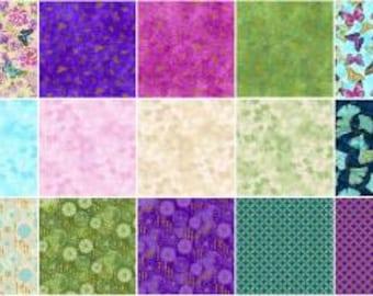 Flights of Fancy Fat Quarter Bundle, 21 Pieces, Ro Greg, Paintbrush Studio, Precut Fabric, Quilt Fabric, Cotton Fabric, Butterfly, Floral
