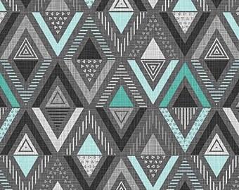 Remnant 1/2-Yard Cosmo Oxygen Triangle Diamond Aqua Cotton Quilting Fabric, Geometric Fabric, Northcott Studio