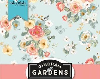 Gingham Gardens Fat Quarter Bundle, 27 Pieces, Riley Blake, My Minds Eye, Cotton Quilt Fabric, Floral Fabric