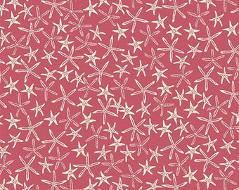 Remnant 1/4-Yards By The Sea Coral Starfish Fabric Yardage, Michael Miller, Cotton Quilt Fabric, Starfish Fabric
