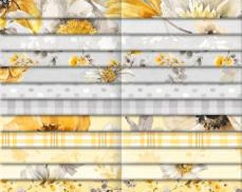 Fields of Gold 2-1/2 Inch Strips Jelly Roll, 40 Pieces, Lisa Audit, Wilmington Prints, Cotton Quilt Fabric, Floral Fabric