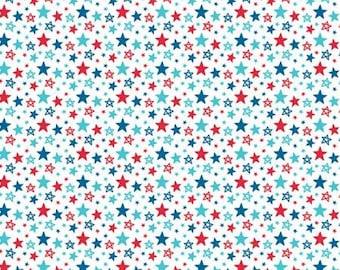 Remnant 1/4-Yards Fireworks & Freedom Multi Star White Fabric Yardage, Bella Blvd, Riley Blake Designs, Cotton Quilt Fabric, Patriotic