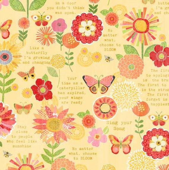 Sing Your Song Yellow Flowers Suntiments Yardage Anne Etsy