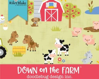 Down on the Farm Fat Quarter Bundle, 18 Pieces, Doodlebug, Riley Blake Designs, Precut Cotton Quilt Fabric, Farm Fabric