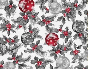 Joyful Traditions Ice Ornament w Silver Metallic Fabric Yardage, Hoffman Fabrics, Cotton Quilt Fabric, Christmas
