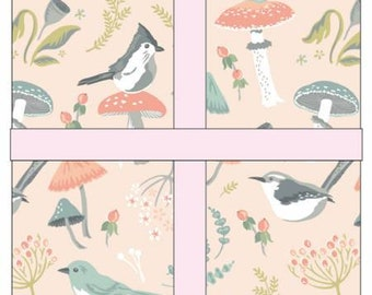 Woodland Songbird 5-Inch Squares Charm Pack Cotton Quilting Fabric, 42  Pieces, Sheri McCulley, Poppie Cotton, , Floral Fabric, Bird Fabric