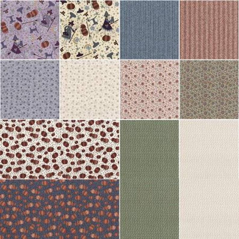 Lynette Anderson Quilt Fabric Little Witchy Wonderland Fat Quarter Bundle RJR Fabrics Cotton Fabric Halloween 12 Pieces Precut Fabric