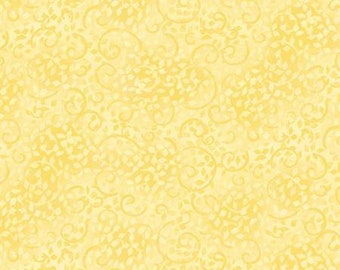 Essentials Basics Light Yellow Scroll Cotton Quilting Fabric, Floral Fabric, Wilmington Prints Essentials.
