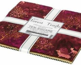 Forest Trails 10-Inch Squares Layer Cake, 42 Pieces, Artisan Batiks Forest Trails, Robert Kaufman, Precut Cotton Quilting Fabric, Batik